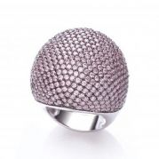 J-JAZ Micro Pave' Big Cocktail Ring with 503 Pink Cz